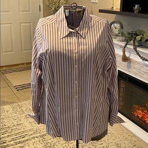 Lane Bryant Pink Gray Pinstripe Shirt 18 20 22 XXL